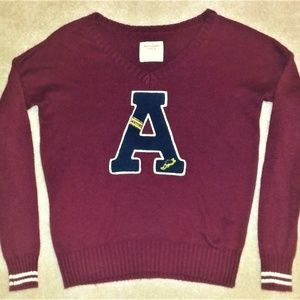 Abercrombie & Fitch Burgundy VNeck Varsity Sweater